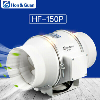"6"" InLine Duct Fan Hydroponic Bathroom Extractor Booster Blower 312CFM 110V"