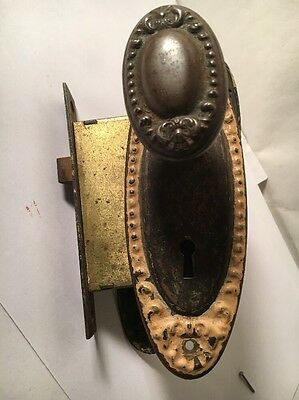 Rare Antique Bronze Brass Metal Vintage  Door Set Oval Knobs Back Plates Lock