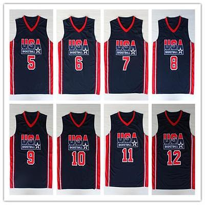 NEW 1992 USA Olympic Dream Team Jersey Men's Basketball Retro BLUE Stitched