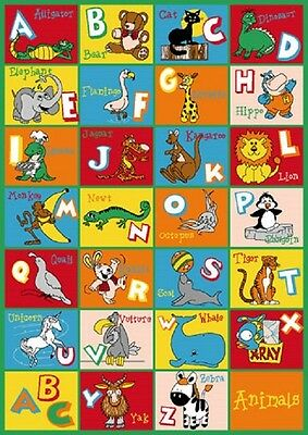 KIDS SCHOOL CLASSROOM ABC ANIMALS 8 x 11 EDUCATIONAL NON SKID GEL RUG