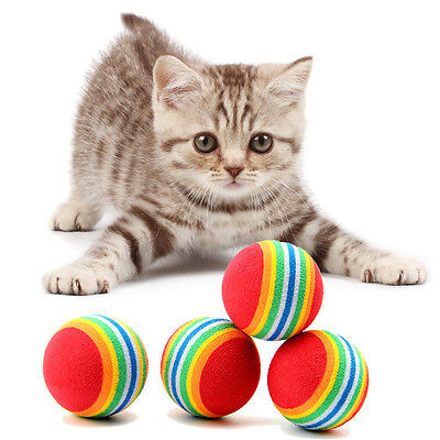 New 10 Pcs/lot Pet Rainbow Ball Kitten Dog Cat Toys Golf Practice Balls