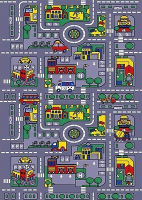 5x7 Area Rug Play Road Driving Time Street Car Kids City Map Fun Time New
