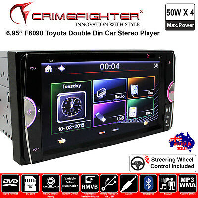 """CRIMEFIGHTER F6090 6.95"""" Toyota Double Din DVD MP4 USB FM Car Stereo Player"""