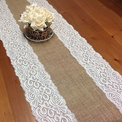 Natural Hessian/Burlap and Off White Lace Table Runner