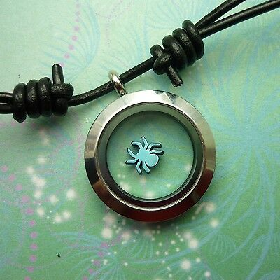 Stainless Steel Locket Necklace Pendant Leather Floating Spiderman Charm