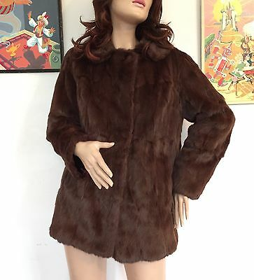 Vintage 60s 70s Chocolate Brown Real Fur Coat Mink Autumn Winter Fall Jacket
