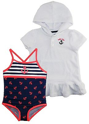 Wippette Little Girls Anchor Girl Swim Beach Terry Dress Cover Up Set