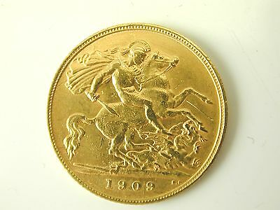 Half sovereign gold coin 22 carat gold dated 1909 George V 4.0 grams