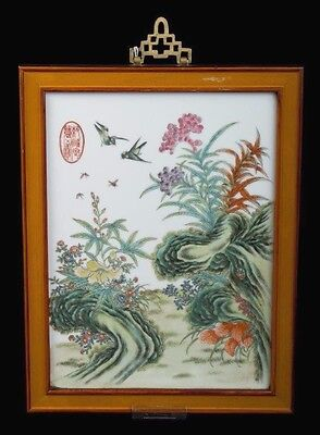 China 19./20. Jh. Tafel - A Chinese Famille Rose Porcelain Panel Chinois Cinese