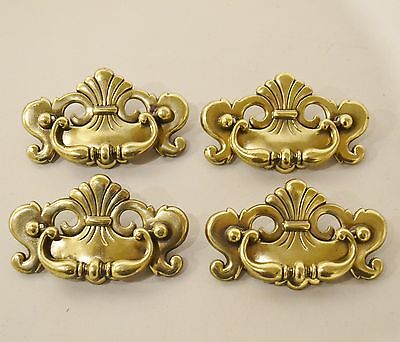 "Lot of 4 Vintage Solid Brass Drawer Pull ~ Fancy Chippendale Batwing  4.25"" K2"
