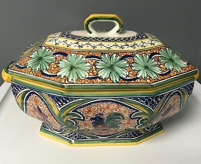 WILLIAMS SONOMA Hand Painted Portugal Alhambra Covered Casserole Serving Dish