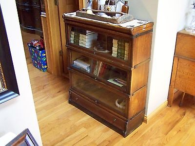 Antique Oak 4 Stack Bookcase Barrister Lawyer Arts & Crafts - Bottom Drawer