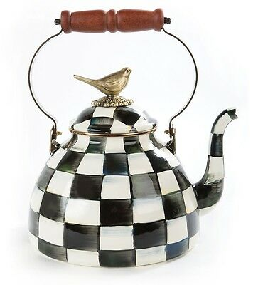 MacKenzie-Childs Courtly Check Enamel 3 Qt. Tea Kettle with Bird