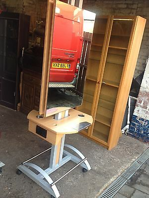 Free Standing Twin Sided Hairdressing Mirror & Styling Work Station  Beauty Spa