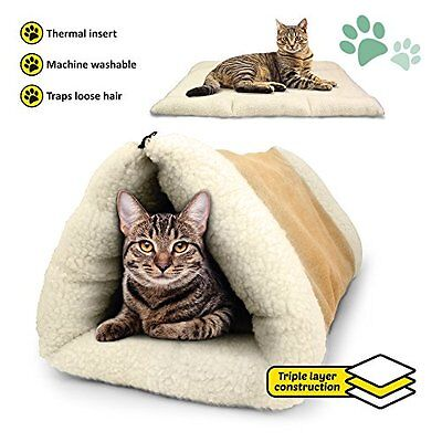 self heated Igloo Bed For Pet Cat/Kitten Dog/Puppy Plush Cave/House/Mat/Snug