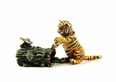 Jay Strongwater Jungle Saimai Tiger Cub On Log Trinket Box Swarovski New Usa Box