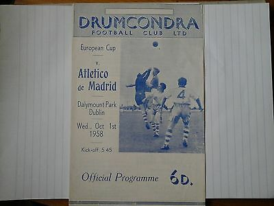 DRUMCONDRA v ATLETICO MADRID European Cup 1958/1959 Exc Cond Football Programme