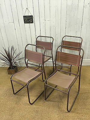 Vtg  4 Stacking Chairs Tubular Canvas 50s 60s Industrial Mid Century Cafe Bar