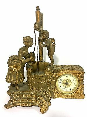 Antique Figural Waterbury 1879  Cherub With Lady On A Magical Well Clock.