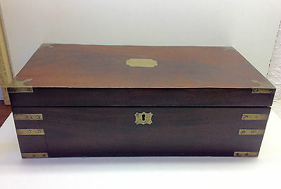 Victorian Brass Bound Mahogany Writing Slope With Secret Side Drawer.