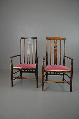 Pair Antique Edwardian Stained Beech Elbow Open Arm Chairs