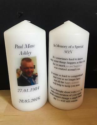 Personalised Remembrance Photo In Memory Candle Gift Keepsake Small