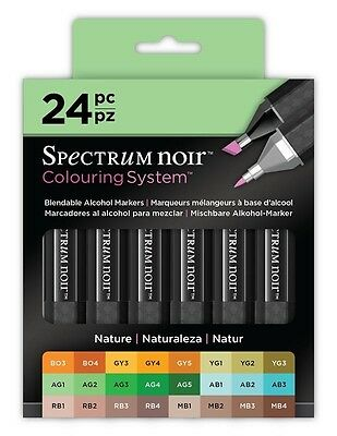 Crafters Companion Spectrum Noir Blendable Alcohol Based 24 Ink Pens Nature