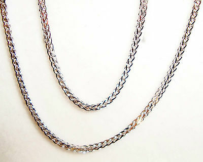 """14k white gold high-end square wheat chain(1.9gr/18""""inch)"""