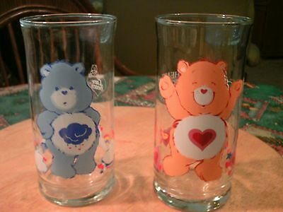 Vintage 1983 Care Bears GRUMPY & TENDERHEART Pizza Hut GLASSES Limited Edition!