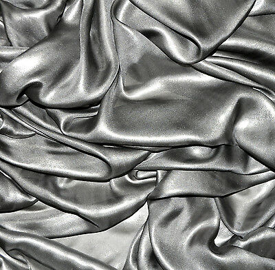 SALE! pure silk silver chiffon shiny fabric. With imperfections. Price for 1m