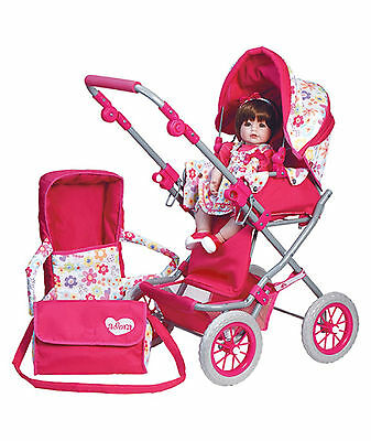 "Adora NT DELUXE STROLLER for 15"" Bitty Baby Dolls Pink Flowers Belt NEW"