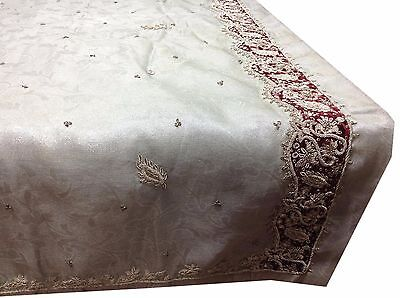 Omsarihouse Vintage Indian Sari Tissue Hand Beaded Silver Saree Fabric A9165