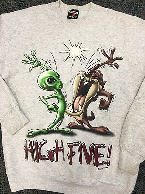 1997 Warner Bros Tasmanian Devil & Alien Sweatshirt Men's Size Large AUTHENTIC