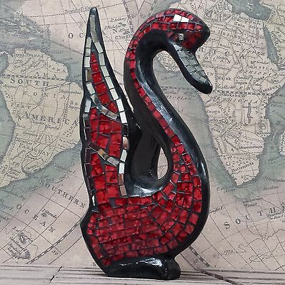 BLACK SWAN - hand carved wooden ornament with mosaic glass - RED