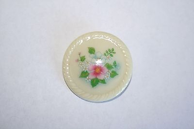 Brooch Pin - Avon - Round - Pink and Blue Flowers - White Ceramic