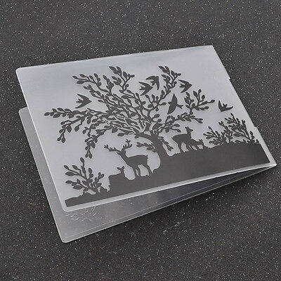 DIY Embossing Folders Tree Elk Paper Craft Making Tools Scrapbook Supplies