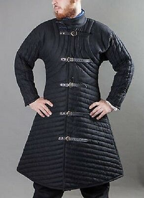Thick black color A shape Gambeson Medieval Padded full sleeves cotton Armor ykk