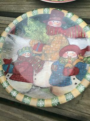 SUSAN WINGET 6 Certified International Salad Plates SNOWMAN SNOW FAMILY HOLIDAY