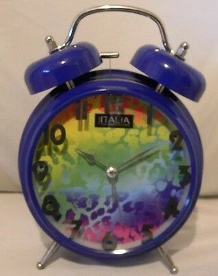 "Loud Twin Bell Alarm Clock Rainbow Cheetah Print Face Navy Blue Body 5"" Battery"