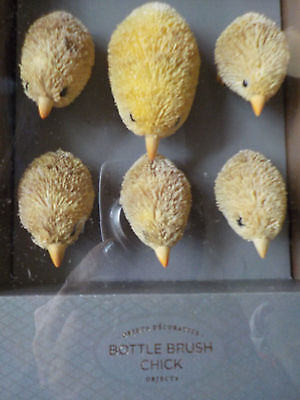 Pottery Barn Bottlebrush Chick Set of 6  Easter Spring NIB