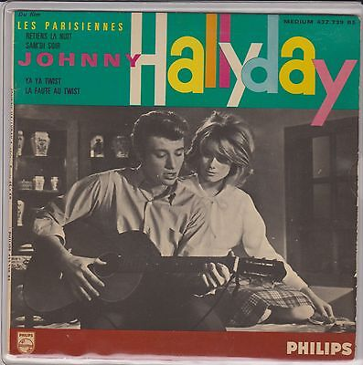 Signed Johnny Hallyday Record - DU FILM LES PARISIENNES- 7 INCH 45 RPM - Philips