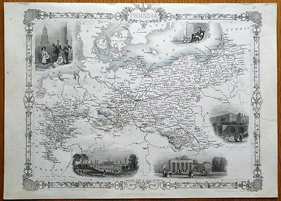 PRUSSIA, GERMANY, POLAND, RAPKIN & TALLIS original antique illustrated map c1850