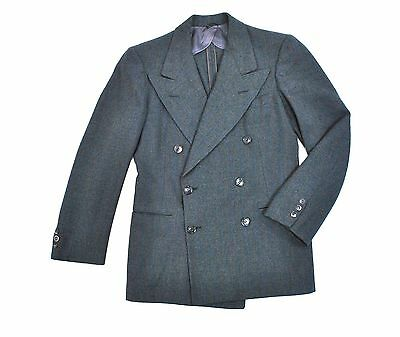 1930's vtg Flannel Jacket 36S Small Short Double Breasted Sport Coat Blue Stripe