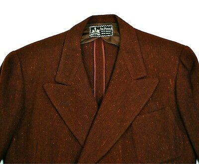 1930's De Pinna 5th Ave Tweed Jacket 40S Med Short Double Breasted Sport Coat