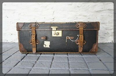 Canvas & Leather Trunk / Chest with Straps Lock Key & Labels - W.H.Smith Bath