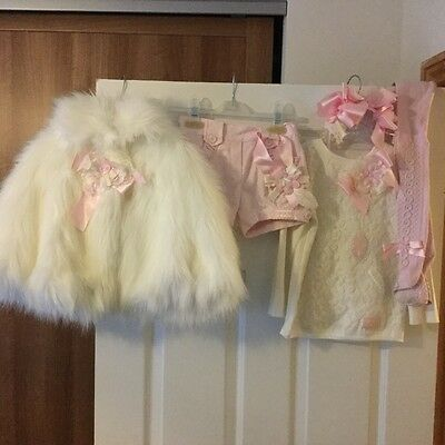 little darlings set age 2 poncho and shorts age 2. top age 3,tights and hairband