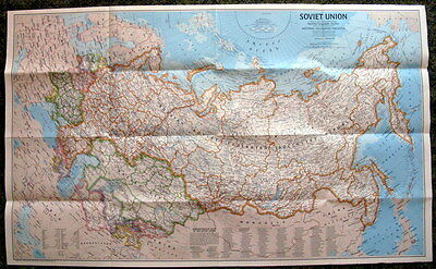 Soviet Union / Peoples of Soviet Union National Geographic Map / Poster Feb 1976