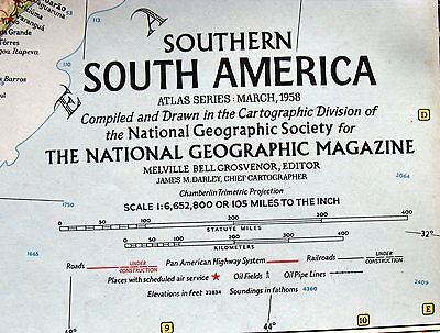 Southern South America National Geographic Map / Poster March 1958