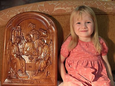 Icon The Most Holy Trinity 3D Art Orthodox Wood Carved. Picture. Great Gift. 19""
