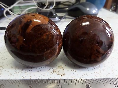 Pair Antique Brown Tigers Eye Marble Glass Porcelain Door Knobs Victorian #1